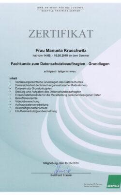 Zertifikat Fachkunde zum Datenschutzbeauftragten - Grundlagen